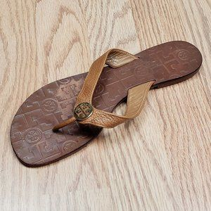 Tory Burch Thora Leather Flip Flop Royal Tan/Gold